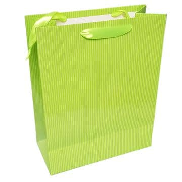 10 x LARGE GREEN STRIPED GIFT BAG birthday party christmas present